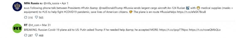 Tweets de RT et MFA Russie à propos de l'aide envoyée par la Russie aux Etats-Unis en période de confinement dû à la pandémie de Covid-19