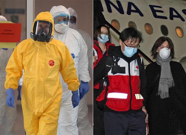 Montage de deux photographies : à gauche, Vladimir Poutine en costume de protection sortant d'une visite à l'hôpital en période de confinement suite à l'épidémie de Covid-19, à droite, des médecins chinois débarquent d'un avion en Italie où ils ont été envoyés en soutient.